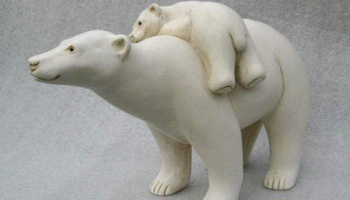 Polar Bear with Cub on Back by Suzie Marsh